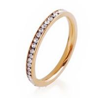 LIN STUDIO Wholesale Jewelry Lots 2mm Crystal Rhinestone Gold/Silver Stainless Steel Eternity Wedding Finger Rings