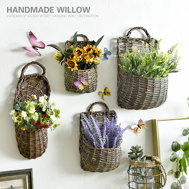 1 Set Sunflower Lavender Daisy Wall Mounted Wicker Rattan Basket Artificial Flowers Home Wedding Decorative