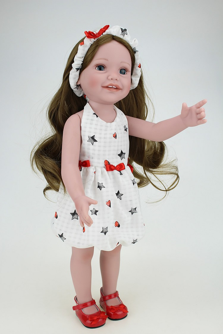 Pelo marrón 18 pulgadas muñeca Princesa Real Girl que mirando ...