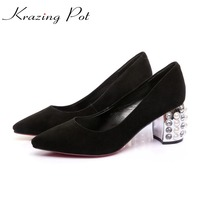 Krazing Pot Sheep Suede Gladiator European Plus Size Brand Shoes Pointed Toe Slip On Crystal High