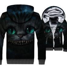 New Arrival 2018 Black Mens Hoodies Hip Hop Unisex Zipper Coat Streetwear 3D Thick Sweatshirt Harajuku Cat Animal Tracksuit Top