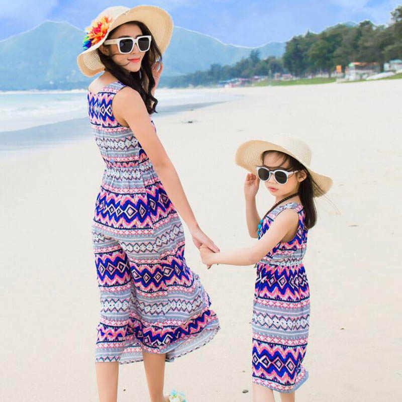 แม่ลูกสาวชุดครอบครัวเสื้อผ้า 2019 ฤดูร้อน Bohemian สไตล์เสื้อผ้าสาวชุดครอบครัวชุดผู้หญิงชุด
