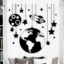 цена на Rocket Space Wall Decal Vinyl Rocket With Star Wall Sticker Nursery Room Decoration Kids Room Wall Art Mural Space Pattern AY398
