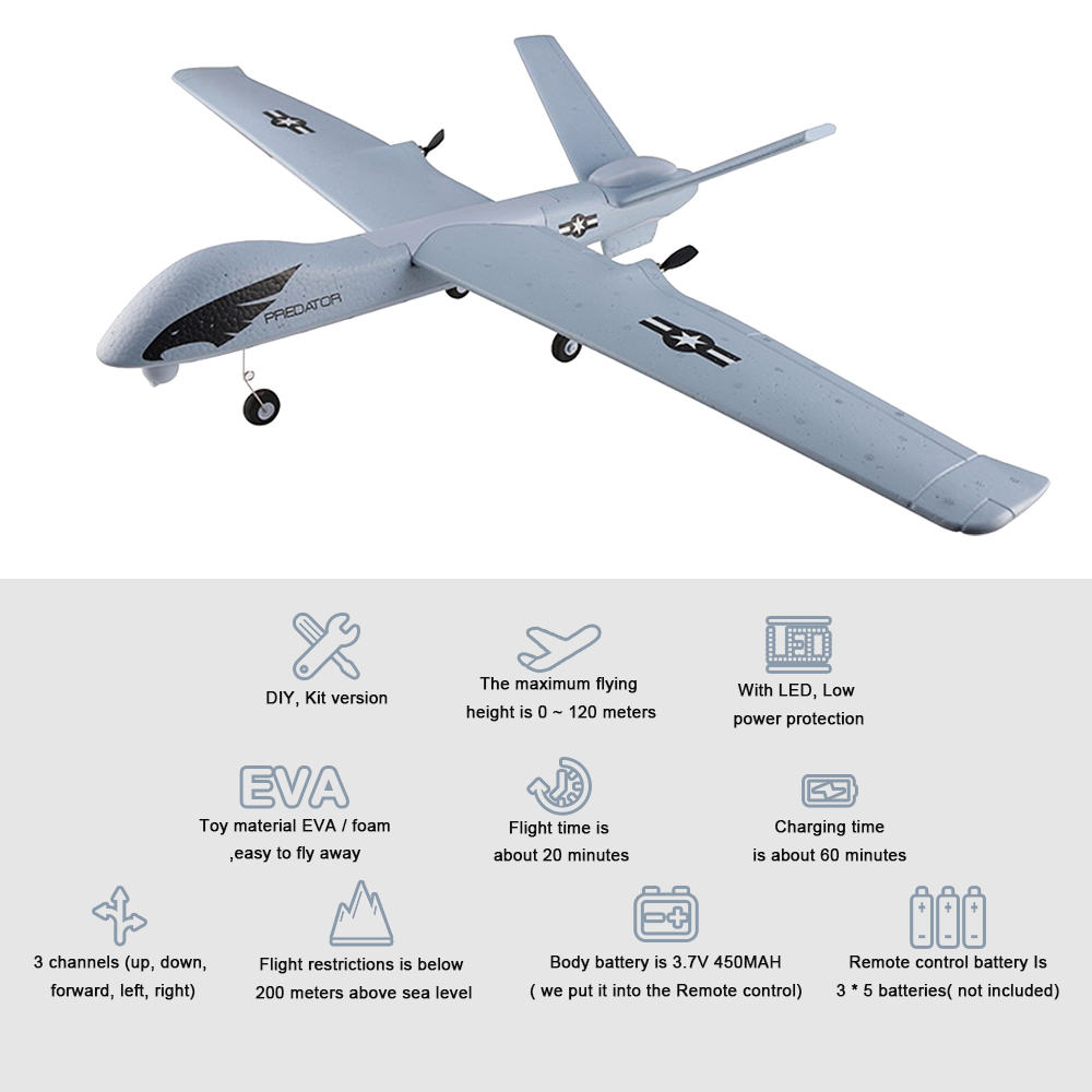 Image 2 - RC Airplane Plane Z51 20 Minutes Fligt Time Gliders 2.4G Flying Model with LED Hand Throwing Wingspan Foam Plane Toys Kids Gifts-in RC Airplanes from Toys & Hobbies