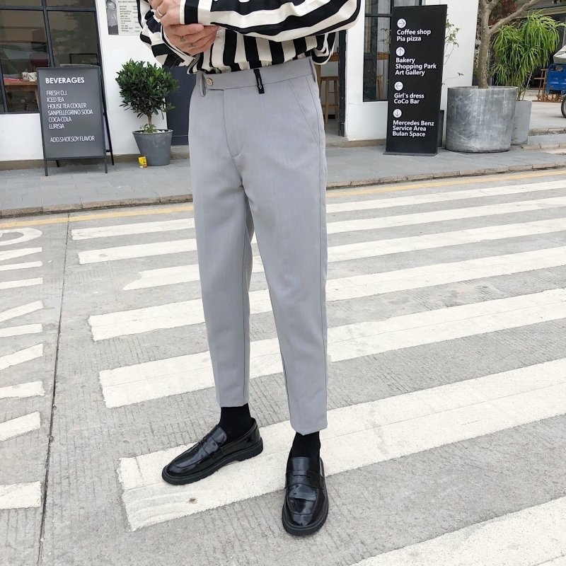 Men's Trousers 2019 Summer New Slim Solid Color Nine Pants Pants Casual Pants Small Feet Pants Loose Fashion Youth Men's Wear