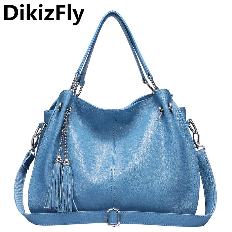 DikizFly new real Genuine leather women handbag casual famous brands design totes bags women messener bag Tassel shoulder bags dikizfly soft genuine leather women handbags casual totes bag real leather brand work handbag purse elegant messenger bags bolsa