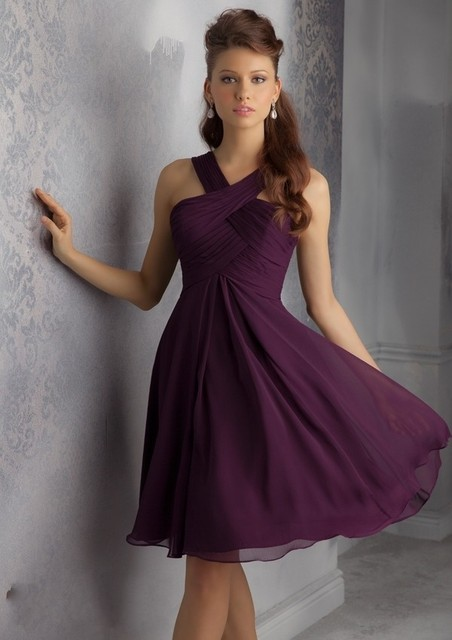 cf4ab7456c7 Criss Cross Chiffon Bodice Plum Wedding Party Gowns Cheap Dark Purple Short  Bridesmaid Dresses Knee Length 2017