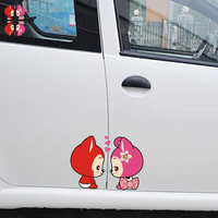 One Pair Ali The Fox Couple Cute Side Door Sticker Funny Car Decal For Mercedes Smart