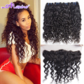 Malaysian Virgin Hair Water Wave Lace Frontal Closure With Bundles Wet And Wavy Curly Hair With Closure Ms Here Ocean Wave Hair