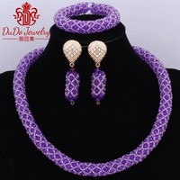 Free Shipping Chunky Bib Necklace Set Purple Crystal Jewelry Set Of Beads For Girls China Plated