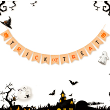 2.5m Trick Or Treat  Halloween Party Linen Flag Decoration Burlap Pennant Banner Decorations 13*15cm