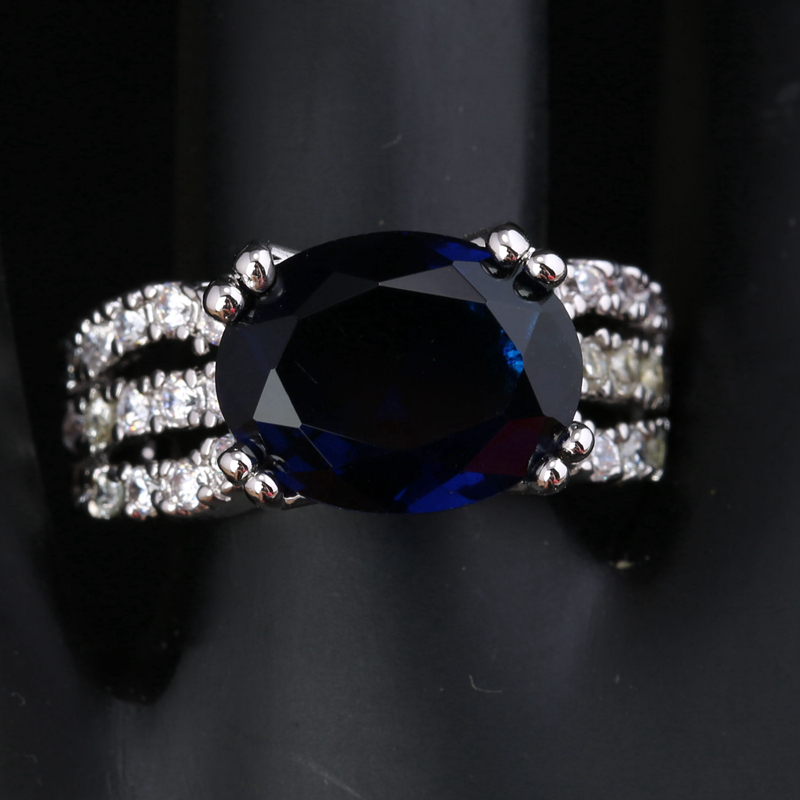 Delicate Gems Deep London Blue Onyx White Zircon 925 Sterling Silver Party Ring US# Size 6 / 7 / 8 / 9 S1755 equte rssw30c1s7 fashionable titanium steel two zircon women s ring silver white us size 7