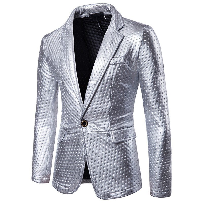 TANG 2019 Winter Brand New Male Thick Fashion Leather Blazer Coat Outwear Gold Suit Mens Dot Embossing Casual PU Leather Blazer