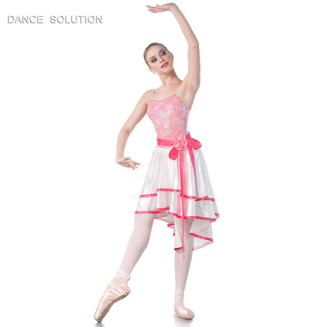 Wholesale Women s Ballet Dance Costume Hot Pink Sequin Lace and Satin Dress  for Lyrical   Contemporary Performance 18431A a80086216720