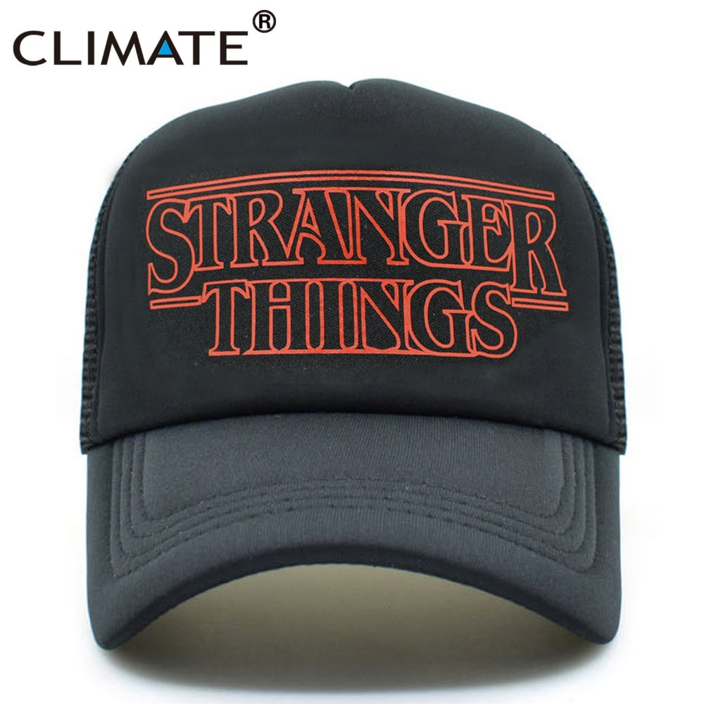 CLIMATE Stranger Things Dustin Caps Hat Summer Cool Black Mesh Trucker Caps Men Adjustable Summer Cool Net Mesh Hats For Summer climate men summer black mesh caps star wars bounty hunter fans cool summer baseball cap black net trucker caps hat for men