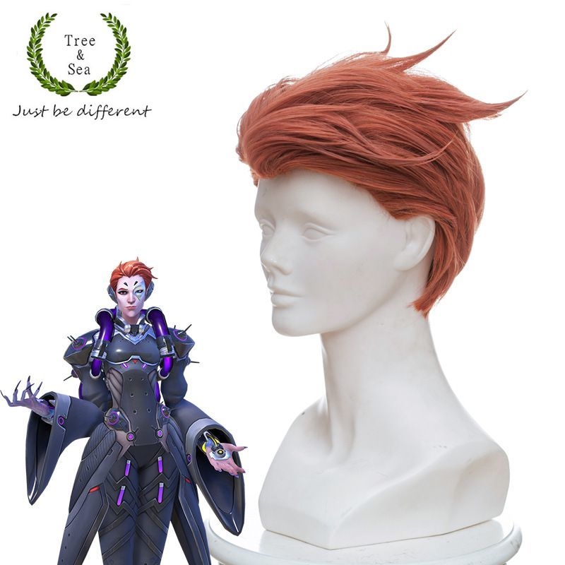 Game OW women Moira O'Deorain cosplay wig short styled orange hair wig costumes