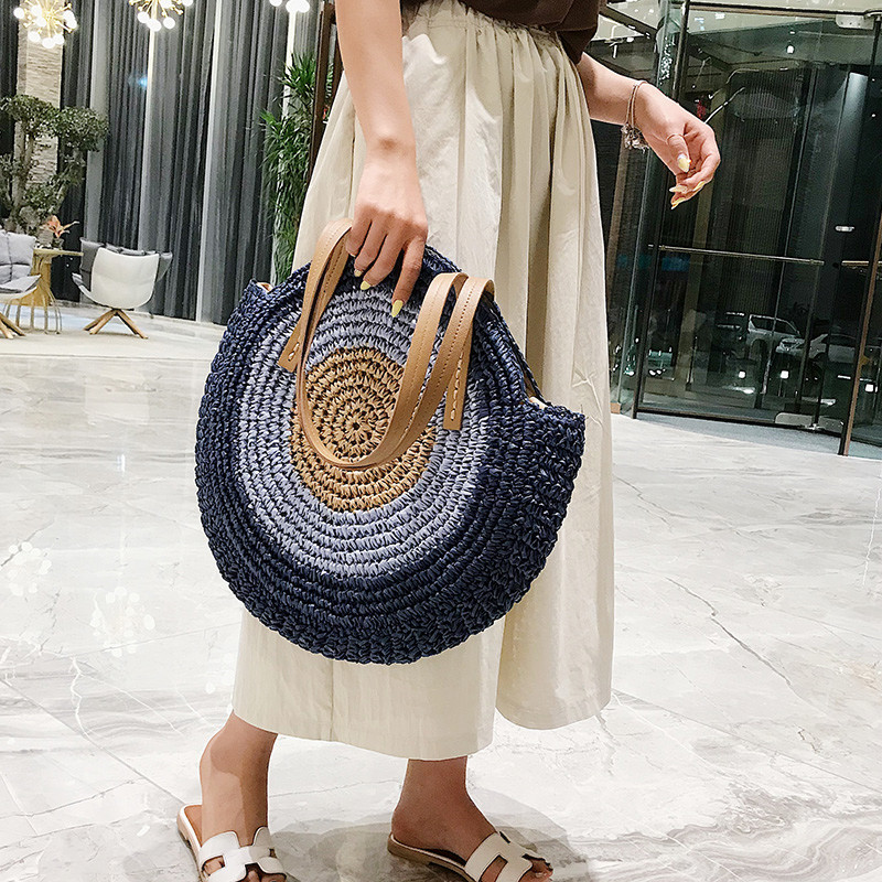 korean style Women Round luxury Handbag Summer Beach Rattan Woven Bag Large Handmade Knitted Straw sac main female messenger bag in Shoulder Bags from Luggage Bags