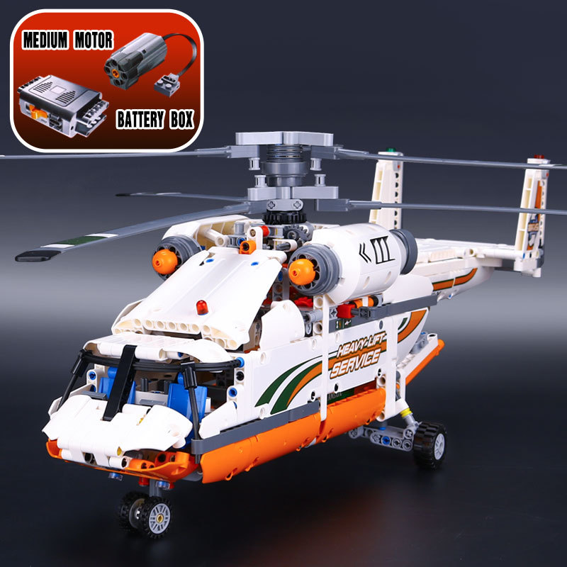 Lepin 20002 1060pcs Technology Series Model Mechanical Group Double Rotor Transport Helicopter Blocks Compatible 42052 Boy toys new lepin 20002 technology series mechanical group high load helicopter blocks compatible with 42052 boy assembling toys