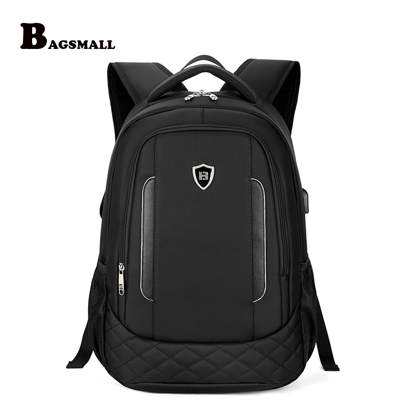 BAGSMALL External USB Charger Computer Bag Men Business 15.6 inch Laptop Backpack Waterproof Casual Travel Backpack For Women