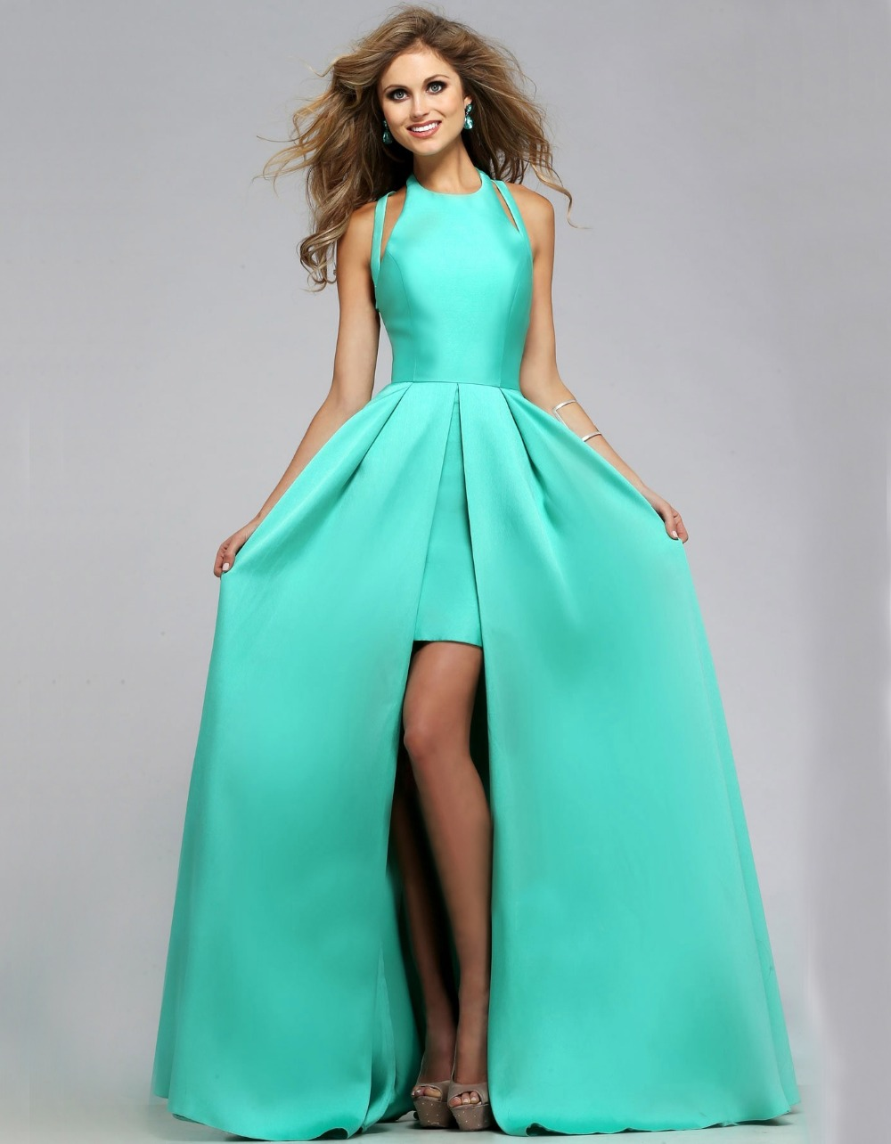 Turquoise low high prom dresses
