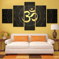Canvas Paintings Living Room Home Decor 5 Pieces Buddha OM Yoga Poster HD Print Golden Symbol Abstract Pictures Wall Art Framed