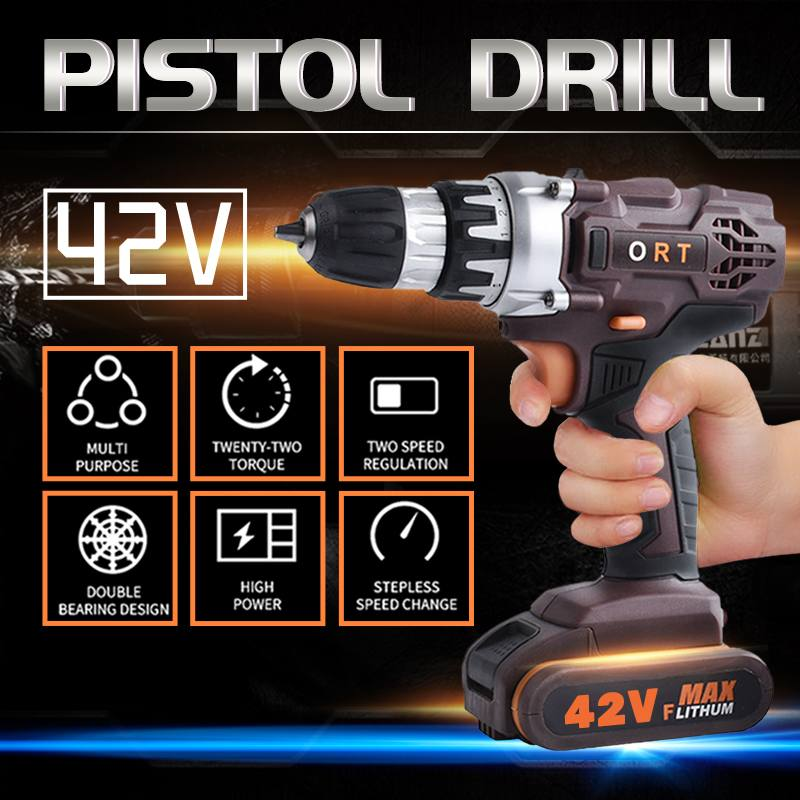 36V LED Light Battery Charge Electric Screwdriver Brushless Cordless Screwdriver Impact Drill 38Nm Torque Adjust Electric Driver