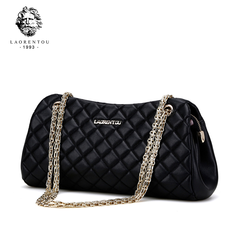 LAORENTOU Designer Brand Leather Womens Messenger Shoulder Bag Fashion Female Bag Chains Crossbody Bag For Women Party Bag