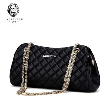 LAORENTOU Designer Brand Leather Womens Messenger Shoulder Bag Fashion Female Bag Chains Crossbody Bag For Women Party Bag