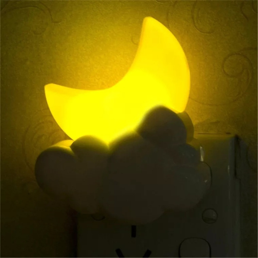 E-SMARTER Mini Moon Auto Sensor Lamp AC110-220V LED Lighting Baby Kids Child Nightlight Wall Socket Light-controlled Moon Lights