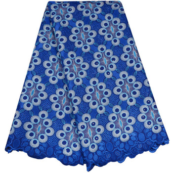 African Dry Lace Fabrics 2018 High Quality Cotton Dry Royal Blue Laces With Stones Swiss Voile Lace Cotton Lace Fabric A983