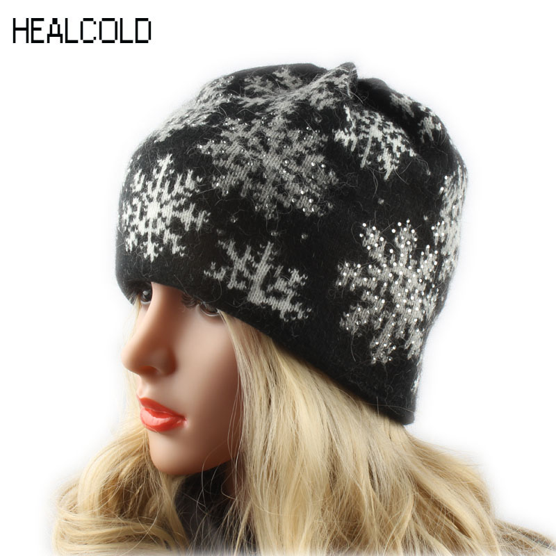 Women Knitted Wool Hats For Winter Snowflake Jacquard Ski Cap Female Rhinestone Skullies Beanies For Ladies