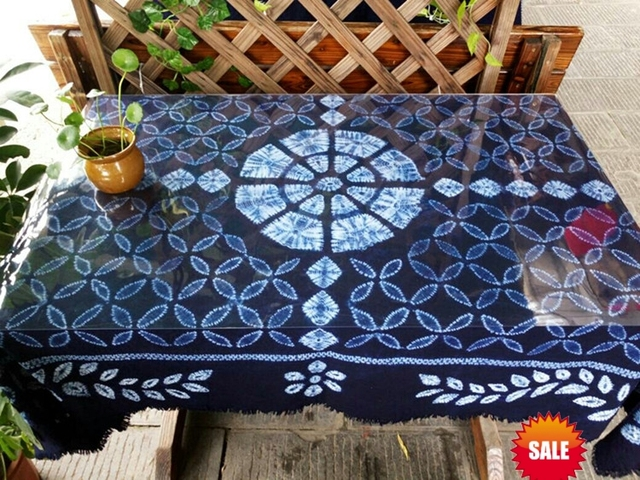 Anese Bandhani Tie Dye Unique Hotal Decorative Arts Four Leaves Handmade Table Cloth Many