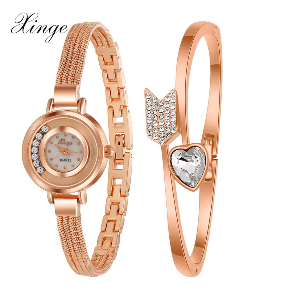 Xinge 2016 New Top Brand Luxury Women Crystal Quartz Wrist Watches Stainless Steel Gold Bangle Watch Bracelet Set Female Clock xinge top brand luxury women watches silver stainless steel dress quartz clock simple bracelet watch relogio feminino