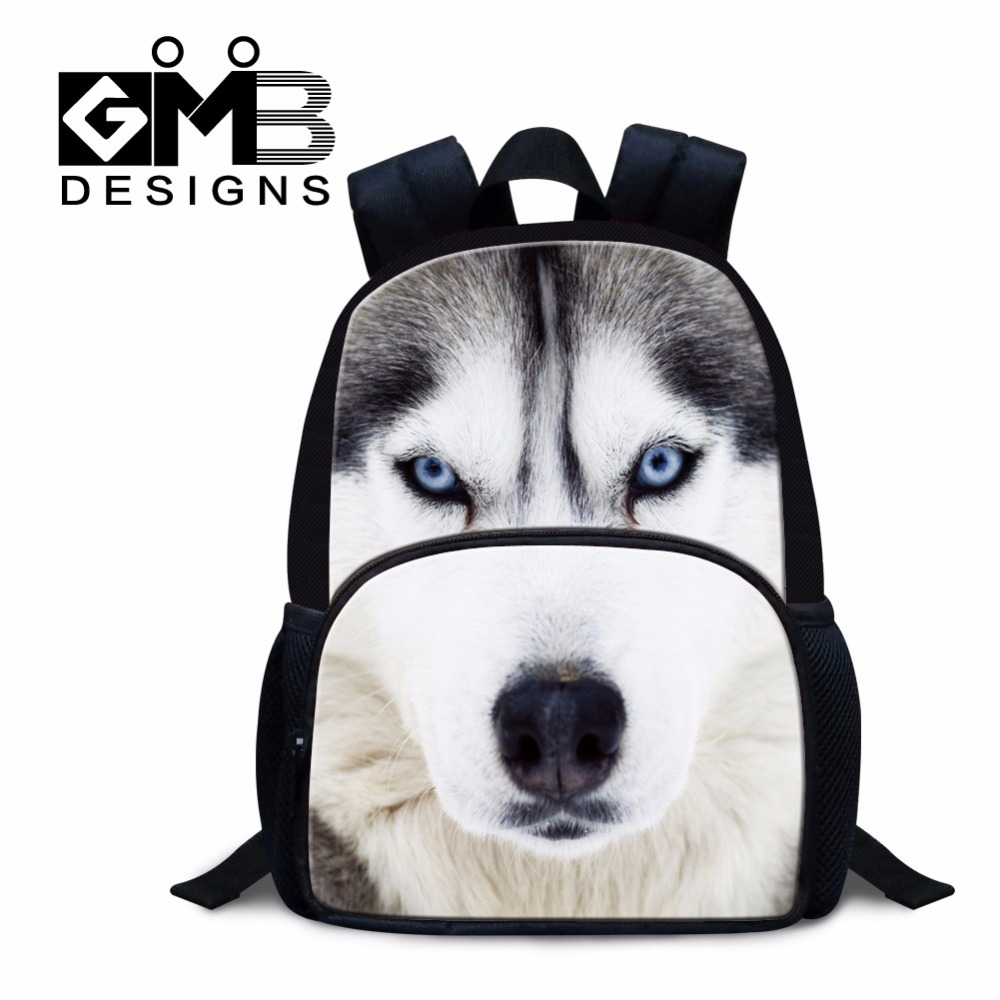 Wolf Small Backpack for Preschool students Cool Mini Day Pack for Kids Little Boys animal bookbags tiger mochila dog back packs