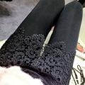 2017 nuevas mujeres sexy negro lace up leggings tope abierta punk clubwear góticas de moda los pantalones de las señoras