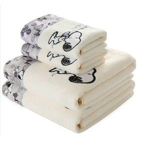 Image 1 - 2 pièces/ensemble enfant dessin animé microfibre tissu impression serviette ensemble cadeau 1 pièces 70x140cm plage bain serviette 1 pièces 34x76cm visage serviette salle de bain