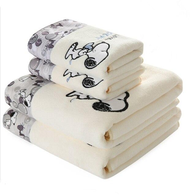 2 pièces/ensemble enfant dessin animé microfibre tissu impression serviette ensemble cadeau 1 pièces 70x140cm plage bain serviette 1 pièces 34x76cm visage serviette salle de bain