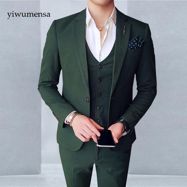 dark green mens suits slim fit sets jacket pants vest italian