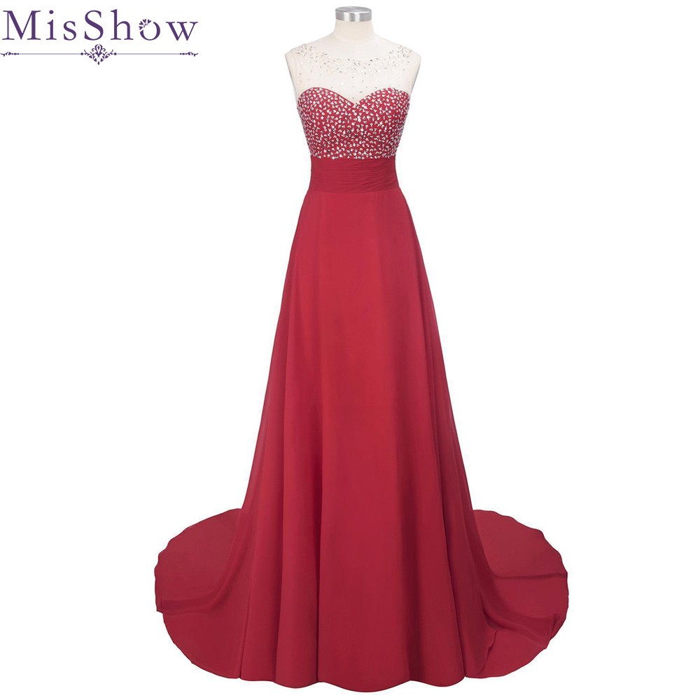 In stock Cheap Long Chiffon Red lilac   Bridesmaid     Dresses   2019 A-Line Vestido De Festa De Casamen sequins Formal Party Prom   Dress