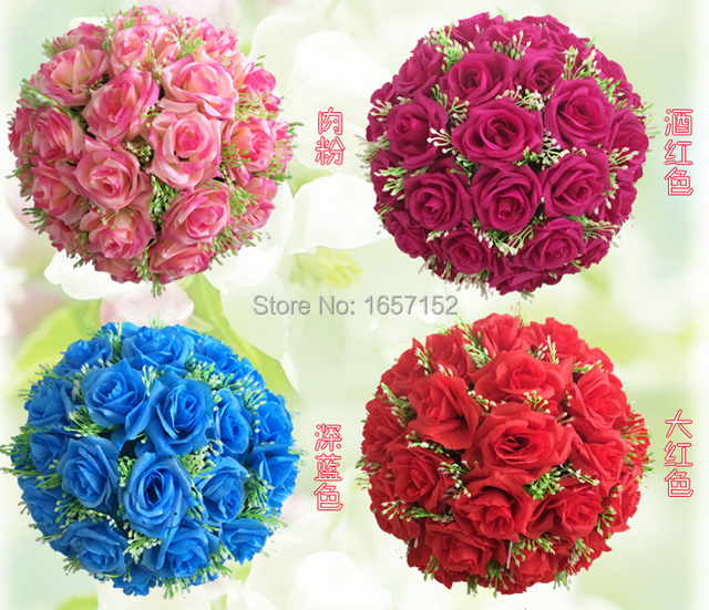 30cm ball-flower high compact Artificial Silk Rose flower ball wedding party ornament christmas house decoration 10pcs/lot