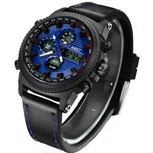 Image 3 - Amst 軍事腕時計 50 メートル防水レザーストラップ led 腕時計男性トップブランドの高級クォーツ時計リロイ hombre レロジオ masculino