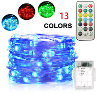 13 Colors Options RGB Remote Control Battery 16ft 50 LED Silver Wire Fairy String Lights Twinkle