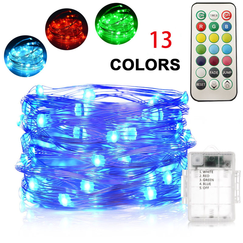 HarrisonTek 13 Colors RGB Holiday Lights Battery Remote Control LED - Holiday Lighting