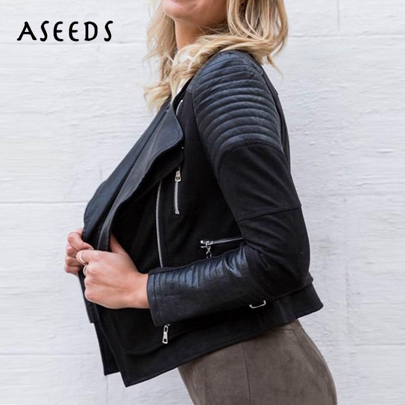 Zipper   suede   jackets ladies streetwear woman winter coats black faux PU   leather   jacket women motorcycle biker jacket spring