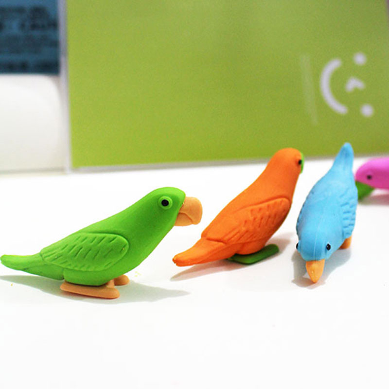 2pcs/lot cute Cartoon eraser lovely parrot modelling eraser children stationery gift prizes  kawaii school supplies papelaria