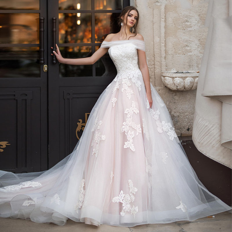 Eightale Wedding Dresses 2019 Luxury Boat Neck Appliqued Lace Off the Shoulder Lace up Bride Dress Wedding Gowns vestudo noiva