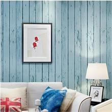 Rollo de papel pintado 3d azul blanco beibehang tablero de madera rústica Natural diseño de pared Vintage rollo de papel de pared 3d