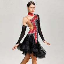 sequins Embroidered latin dance dresses women competition dress salsa samba black costumes wear