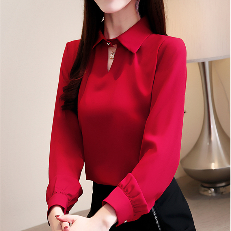 New Fashion 2019 Womens Tops And   Blouses     Shirt   V-Neck Long Sleeve Women Clothing Office Ladies   Shirt   Feminine Tops Blusas