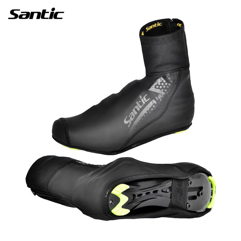 Цена за Santic зимние велосипедные туфли покрытия тепловой водонепроницаемый руно дорога велосипед обувь крышка мужчины женщины полный галоши размер 39 44